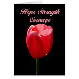 El tulipán rojo de Parkinson del valor de la fuerz Felicitaciones