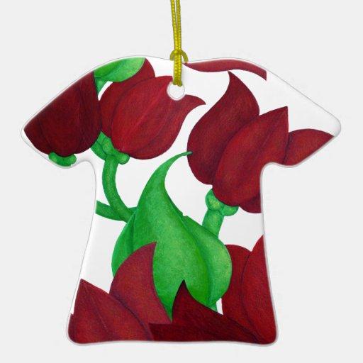 El tulipán rojo florece el arte original E.L.D. Adorno Navideño De Cerámica En Forma De Playera