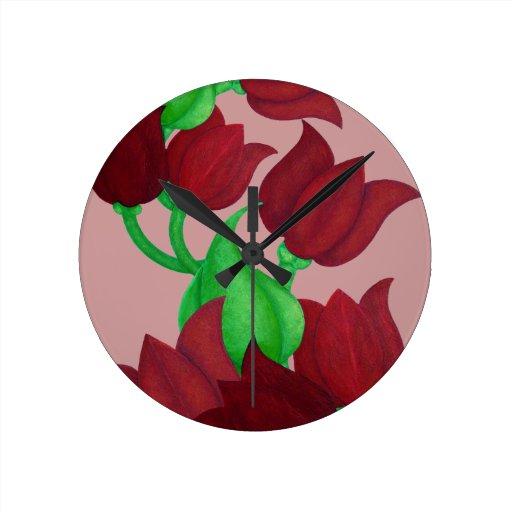 El tulipán rojo florece el arte original E.L.D. Reloj De Pared