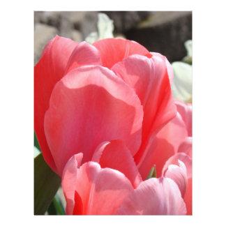 El tulipán rosado de papel del libro de recuerdos  membrete a diseño