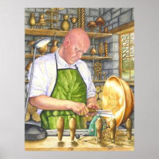 El Turner de madera Póster