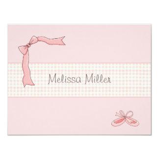 """El tutú rosado personalizado agradece le/Notecard Invitación 4.25"""" X 5.5"""""""
