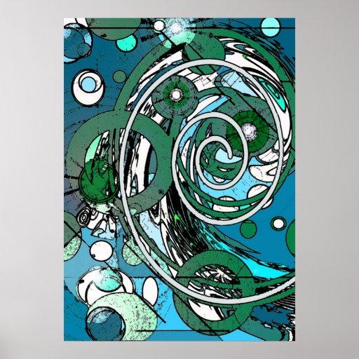 El tween circunda - el poster abstracto azul/del v