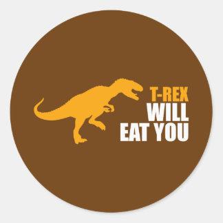 El Tyrannosaurus Rex le comerá Pegatina Redonda