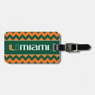 El U Miami - verde y naranja Etiqueta De Equipaje