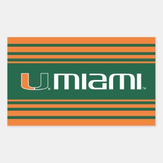 El U Miami - verde y naranja Pegatina Rectangular