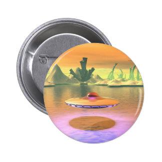 El UFO extranjero del lago saca el botón Pin Redondo De 2 Pulgadas