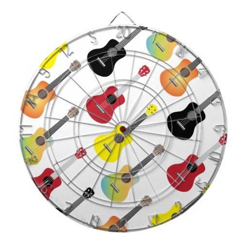 El Ukulele colorido modela música Tablero De Dardos