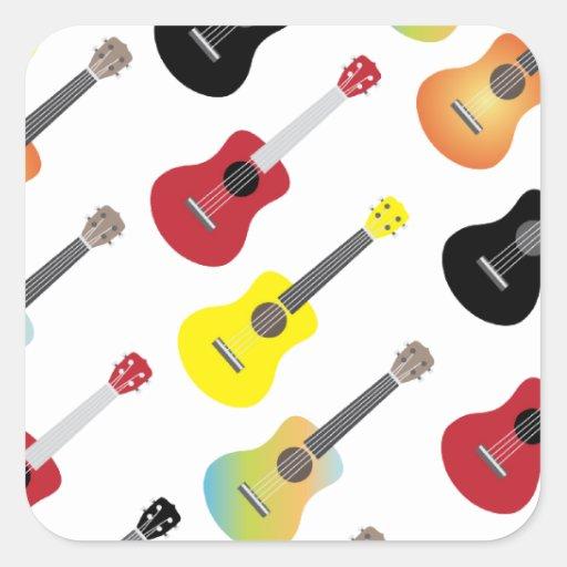 El Ukulele colorido modela música Colcomanias Cuadradas