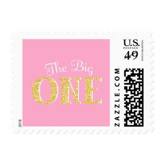 El un 1r cumpleaños grande brillo rosado del oro sello postal