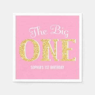 El un 1r cumpleaños grande brillo rosado del oro servilleta desechable