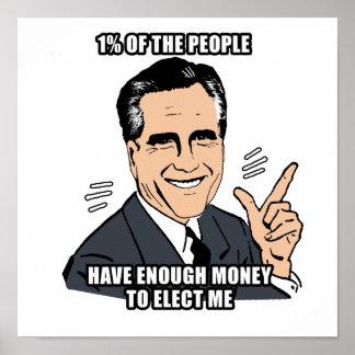 el un por ciento de la gente tiene bastante dinero posters
