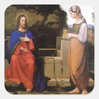 El und de Christus muere Samariterin Pegatina Cuadrada