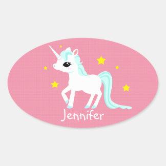 El unicornio azul y blanco protagoniza adaptable pegatina ovalada