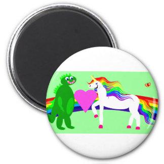 El unicornio considera el dinosaurio imán redondo 5 cm