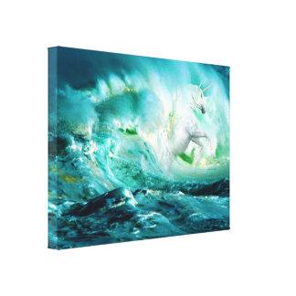 El unicornio de medianoche del océano estiró la lona envuelta para galerias
