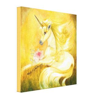 El unicornio de oro soñador impresión en lona