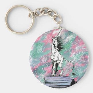 El unicornio encantado llavero redondo tipo pin