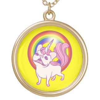El unicornio Frenchie Colgante Redondo