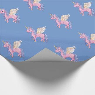 El unicornio lindo con el arco iris se va volando papel de regalo