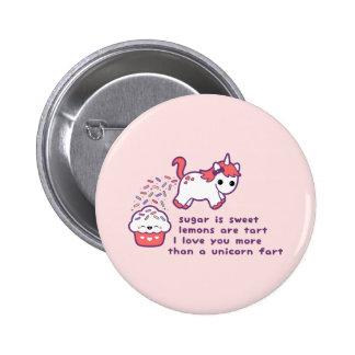 El unicornio lindo Fart Pin Redondo De 2 Pulgadas