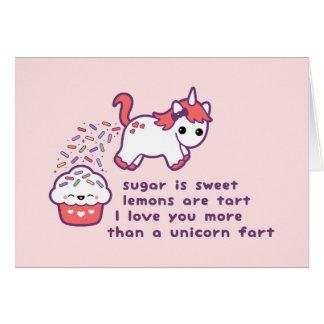 El unicornio lindo Fart Tarjeta De Felicitación
