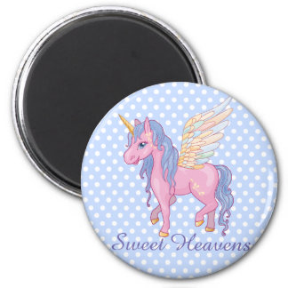 El unicornio lindo mágico con el arco iris se va imán redondo 5 cm