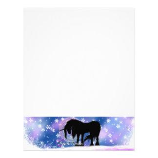 El unicornio negro místico (déjelo la nieve) membrete