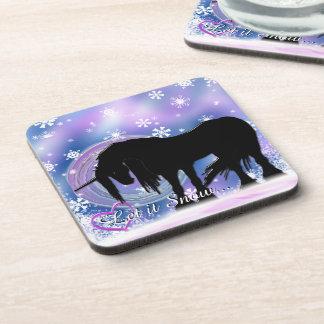 El unicornio negro místico (déjelo la nieve) posavaso