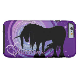 El unicornio negro místico (púrpura/falta de funda para iPhone 6 tough