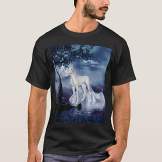 El unicornio soña la melena florecida púrpura 1 playera