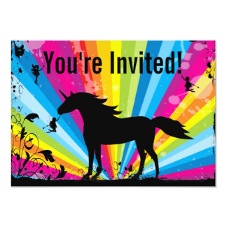 """El unicornio y el cumpleaños de hadas del arco invitación 5"""" x 7"""""""