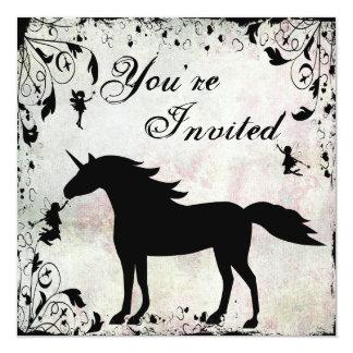 """El unicornio y el cumpleaños de hadas mágico de invitación 5.25"""" x 5.25"""""""