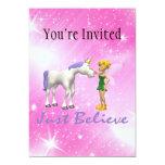 El unicornio y la hada apenas creen invitación 12,7 x 17,8 cm