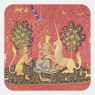 El unicornio y la imagen medieval virginal de la pegatinas cuadradas