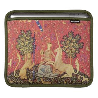 El unicornio y la imagen medieval virginal de la t funda para iPads