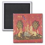 El unicornio y la imagen medieval virginal de la t imán de nevera