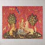 El unicornio y la imagen medieval virginal de la t posters