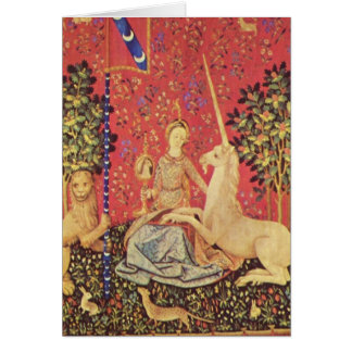 El unicornio y la imagen medieval virginal de la tarjeton