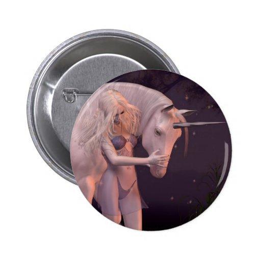 El unicornio y la Virgen Pin Redondo 5 Cm