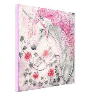 El unicornio y los rosas lona estirada galerías