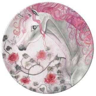 El unicornio y los rosas plato de cerámica