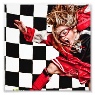 El uniforme del rojo del atleta del chica del niño arte fotográfico