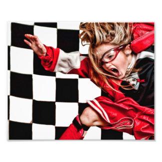 El uniforme del rojo del atleta del chica del niño arte con fotos