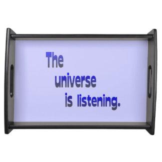 El universo está escuchando - fondo azul bandeja
