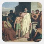 El untar de David de Saul, 1842 Pegatina Cuadrada