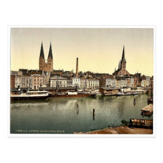 El Unter Trave, cerca de Holsenthor, Lubeck, Alema Tarjetas Postales