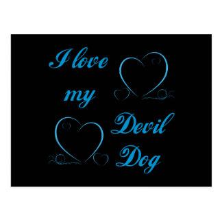 El USMC I ama mi perro de diablo Postales