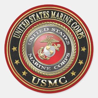 El USMC simboliza [la edición especial] [3D] Pegatina Redonda