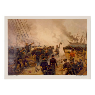 El USS Kearsarge hunde el CSS Alabama en 1864 Póster